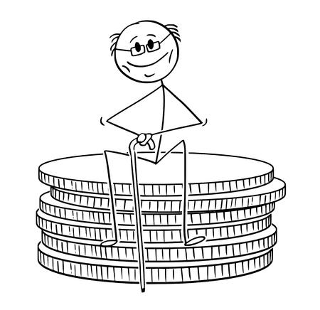 Cartoon stick tekening conceptuele afbeelding van oude gepensioneerde gepensioneerde of gepensioneerde man zittend op een kleine stapel munten. Concept van sparen en pensioen.