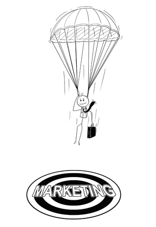 Cartoon stick drawing conceptual illustration of skydiver parachutist businessman with parachute landing at marketing target. Business concept of investment and management.