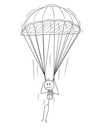 Cartoon Stick Zeichnung konzeptionelle Illustration von Fallschirmspringer Fallschirmspringer, Mann oder Geschäftsmann mit Fallschirm.