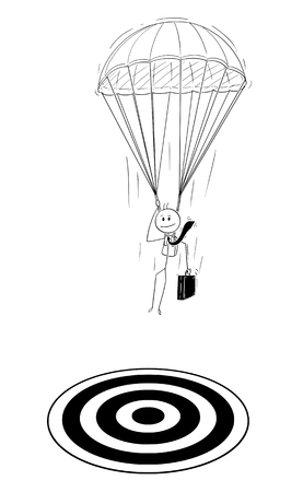 Cartoon stick drawing conceptual illustration of skydiver parachutist businessman with parachute landing at target. Business concept of investment and management. Vektorové ilustrace