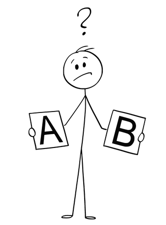 Cartoon stick drawing conceptual illustration of man or businessman holding cards with A and B and deciding between two options. Vektorgrafik