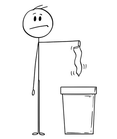 Cartoon-Stick-Zeichnung konzeptionelle Illustration des Mannes, der gebrauchtes oder unbenutztes Kondom in den Abfalleimer wirft. Lebenskonzept und Kinderkonzeption. Vektorgrafik