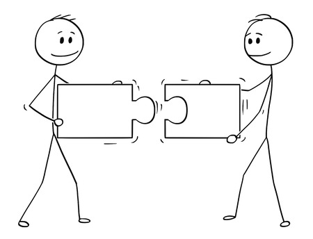 Cartoon stick man drawing conceptual illustration of two businessmen holding and connecting matching pieces of jigsaw puzzle. Business concept of teamwork, collaboration and problem solution.