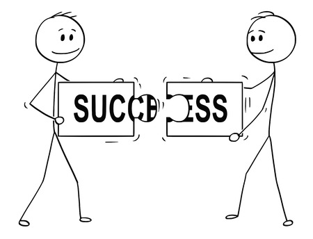 Cartoon stick man drawing conceptual illustration of two businessmen holding and connecting matching pieces of jigsaw puzzle with success text. Business concept of teamwork, collaboration and problem solution.
