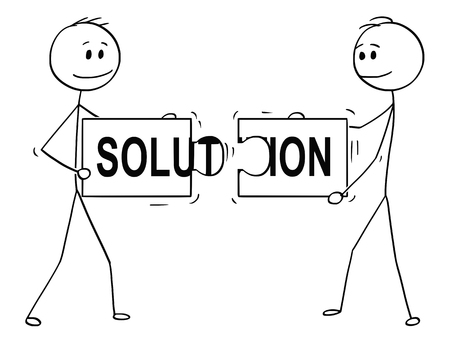 Cartoon stick man drawing conceptual illustration of two businessmen holding and connecting matching pieces of jigsaw puzzle with solution text. Business concept of teamwork, collaboration and problem solving.