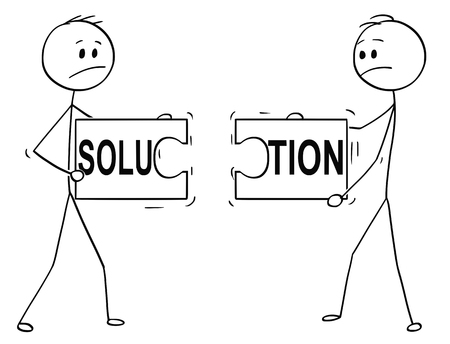 Cartoon stick man drawing conceptual illustration of two businessmen holding and trying to connect two unmatching pieces of jigsaw puzzle with solution text. Business concept of cooperation failure when trying to solve problem in team .