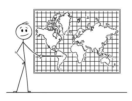 Cartoon stick drawing conceptual illustration of man using pointer and pointing at South America continent on big wall world map.  イラスト・ベクター素材