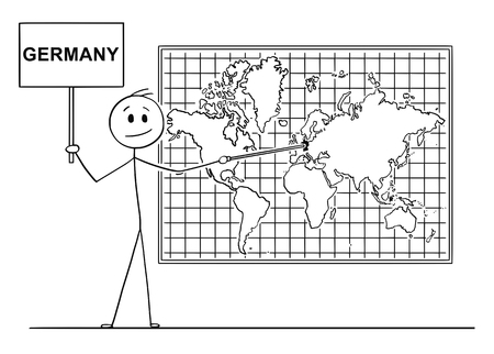 Cartoon stick drawing conceptual illustration of man using pointer and pointing at Germany on big wall world map.