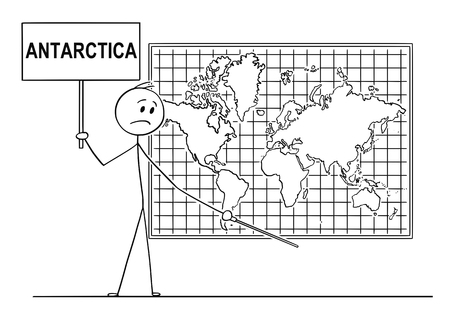 Cartoon stick drawing conceptual illustration of man Holding a Sign and using pointer and pointing at place under big wall world map, where Antarctica continent should be.  イラスト・ベクター素材