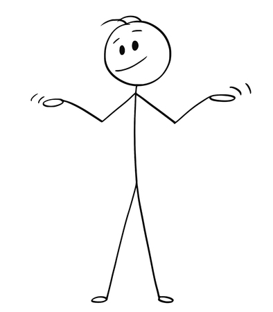 Cartoon stick drawing conceptual illustration of man or businessman spreading his arms in innocence or uncomprehending gesture. Illustration