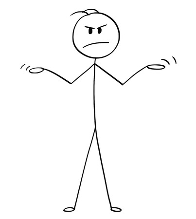 Cartoon stick drawing conceptual illustration of angry man or businessman spreading his arms in innocence or uncomprehending gesture.