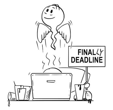 Cartoon stick drawing conceptual illustration of man or businessman, who died while working on computer tired and overworked, and who was drinking coffee from many empty cups around. His hand is holding finally deadline sign.