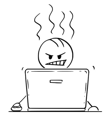 Cartoon stick drawing conceptual illustration of angry man or businessman working or typing on laptop or notebook computer.