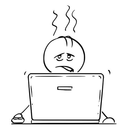 Bâton de dessin animé dessinant une illustration conceptuelle d'un homme ou d'un homme d'affaires fatigué et surmené travaillant ou tapant sur un ordinateur portable ou un ordinateur portable.
