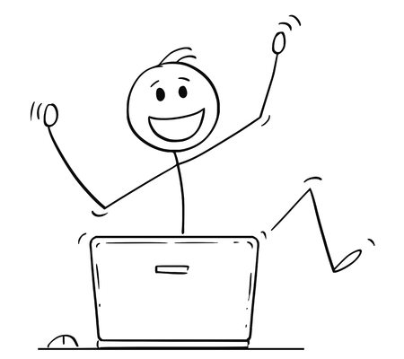 Cartoon stick drawing conceptual illustration of happy dancing man or businessman celebrating success behind laptop computer. 版權商用圖片