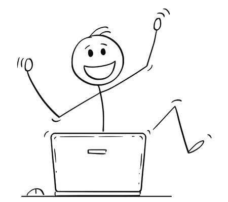 Cartoon stick drawing conceptual illustration of happy dancing man or businessman celebrating success behind laptop computer. Stock Photo