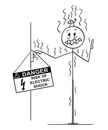 Palo de dibujos animados dibujo ilustración conceptual del hombre tocando conductores no aislados procedentes de la pared y recibió una descarga eléctrica de alto voltaje.