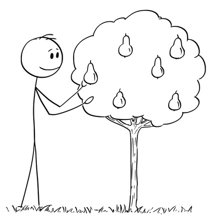 Cartoon stick drawing conceptual illustration of man picking fruit from small pear tree. Stock Illustratie