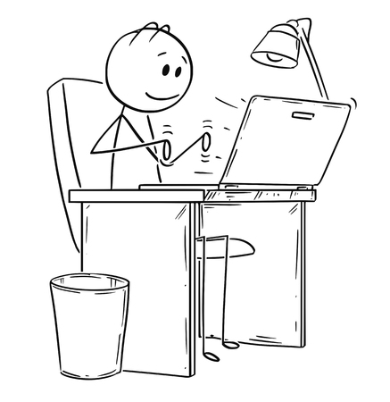 Cartoon stick drawing conceptual illustration of smiling man or businessman working or typing in office on laptop or notebook computer.