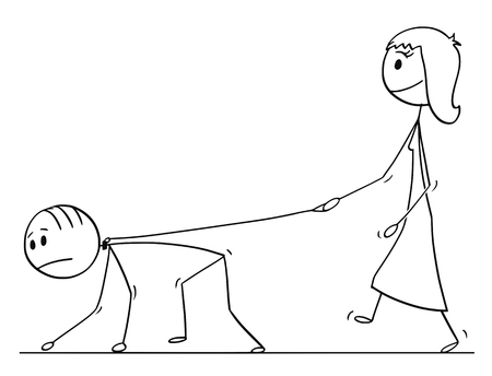 Cartoon stick drawing conceptual illustration of woman walking with man on a leash. Concept of love,relationship and dominance.