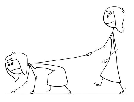 Cartoon stick drawing conceptual illustration of woman walking with another woman on a leash. Concept of slavery and dominance.