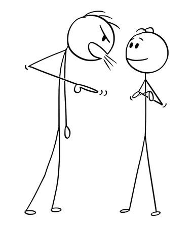 Cartoon Stick Zeichnung konzeptionelle Illustration von Mann oder Geschäftsmann, der ruhig ist und lächelt, während Chef oder Manager ihn anschreit. Konzept des mentalen Gleichgewichts. Vektorgrafik