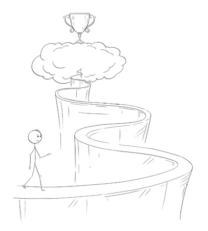 Cartoon stick drawing conceptual illustration of man or businessman walking up the path to heaven for his dream and success represented by winners cup.