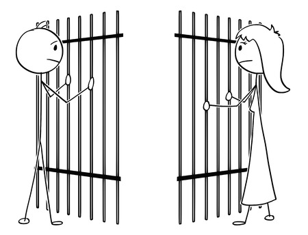 Cartoon stick drawing conceptual illustration of couple of man and woman divide by prison iron bars. Concept of obstacles in love and relationship difficulties.