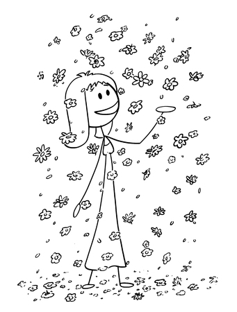 Cartoon stick drawing conceptual illustration of happy smiling woman or girl enjoying to be surrounded by large amount of falling flowers, blossoms and petals. Concept of daydreaming or environmental conservation. Ilustração