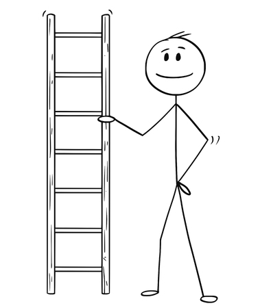 Cartoon stick drawing conceptual illustration of man or businessman holding small ladder.