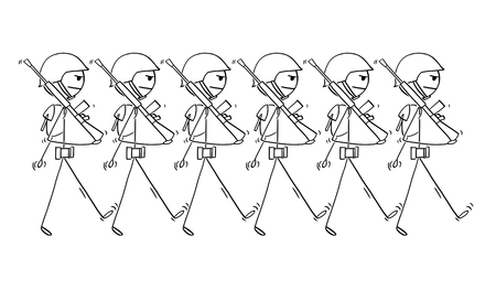 Cartoon stick drawing conceptual illustration of modern soldiers marching on parade or in to war. Concept of militarism.