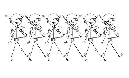 Palo de dibujos animados dibujo ilustración conceptual de soldados modernos marchando en un desfile o en la guerra. Concepto de militarismo.