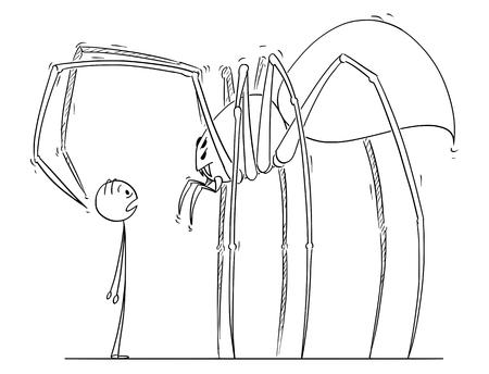 Cartoon Stick Zeichnung Illustration des Mannes mit Blick auf riesige Spinnenmonster.