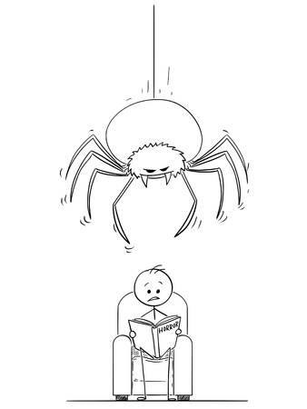 Cartoon stick drawing illustration of man sitting in arm chair and reading gripping horror book. Giant spider is hanging on the thread above his head ready to attack.