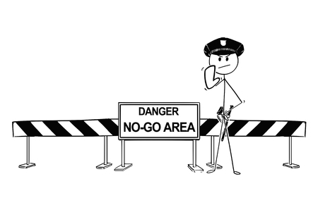 Pen and ink hand drawing of policemen showing stop gesture standing near road block with no-go area sign.