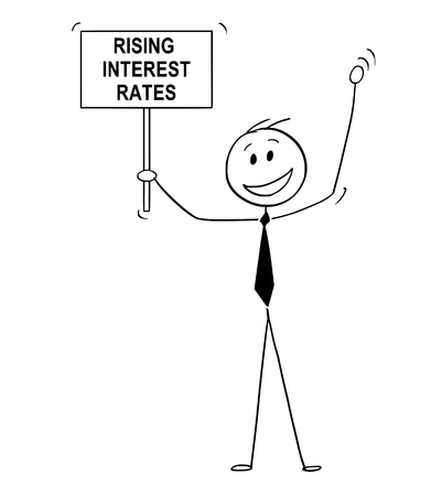 Cartoon stick drawing conceptual illustration of happy man, banker or businessman celebrating rising interest rates with sign in his hand.