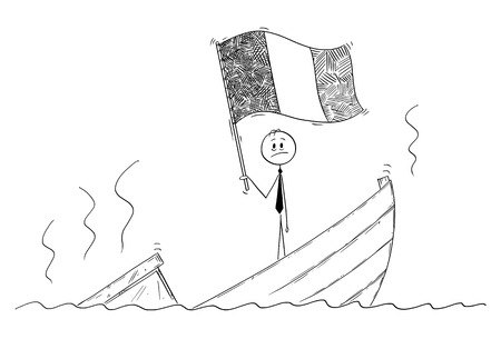 Cartoon stick drawing conceptual illustration of politician standing depressed on sinking boat waving the flag of Republic of Ireland or Italy, Italian Republic.