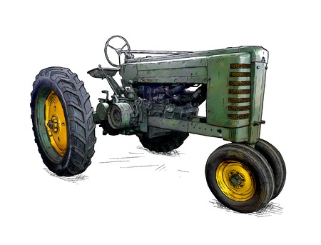 Old green tractor illustration in cartoon or comic style. Tractor was made in Iowa, USA or US between 1934 and 1952 or 30s, 40s , 50s. Banque d'images - 110690329