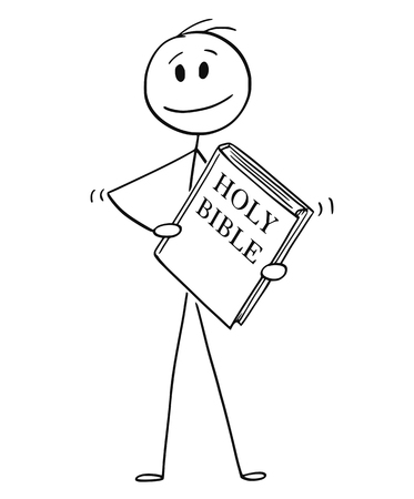 Cartoon stick drawing conceptual illustration of smiling man holding big holy bible book. Vettoriali