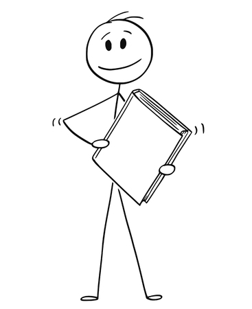 Cartoon stick drawing conceptual illustration of smiling man or businessman holding big book with blank cover.