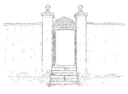 Dessin artistique à la plume et à l'encre de vecteur illustration de la porte du jardin du parc du château décoré simple avec des escaliers et un mur autour. Vecteurs