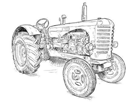 Dessin artistique à la plume et à l'encre de vecteur de vieux tracteur. Le tracteur a été fabriqué en Écosse, au Royaume-Uni, entre 1954 et 1958 ou dans les années 50.