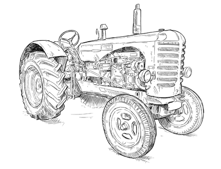Vector artistic pen and ink drawing of old tractor. Tractor was made in Scotland, United Kingdom in between 1954 - 1958 or 50s.