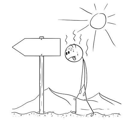 Cartoon-Stick zeichnet konzeptionelle Illustration des Menschen, der durstig ohne Wasser durch die heiße Wüste geht und ein Pfeilzeichen mit leerem Platz für Ihren Text gefunden hat. Vektorgrafik