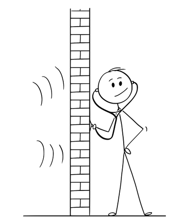 Cartoon stick drawing conceptual illustration of man using stethoscope or phonendoscope to hear and spy what happens behind wall.