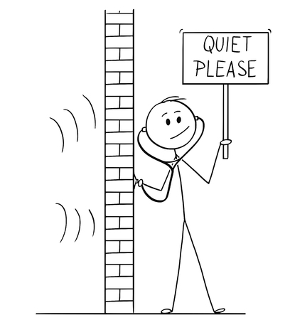 Cartoon stick drawing conceptual illustration of man using stethoscope or phonendoscope to hear and spy what happens behind wall and holding quiet please sign.