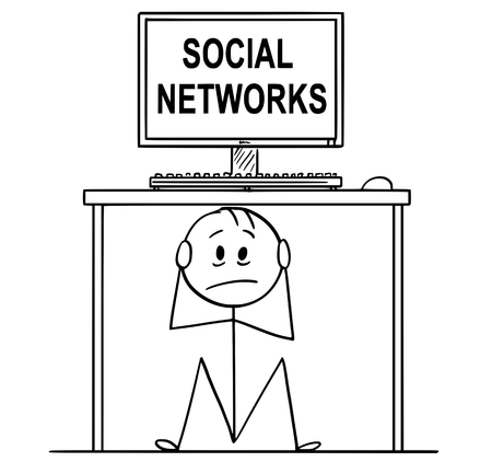 Cartoon stick drawing conceptual illustration of stressed man or businessman sitting hidden under office desk with social networks text on the screen.
