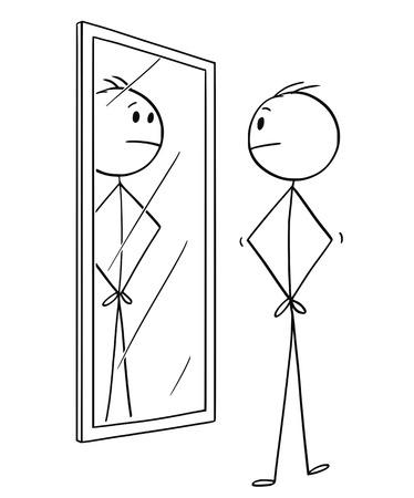 Cartoon stick tekening conceptuele afbeelding van man kijken naar zichzelf in de spiegel.
