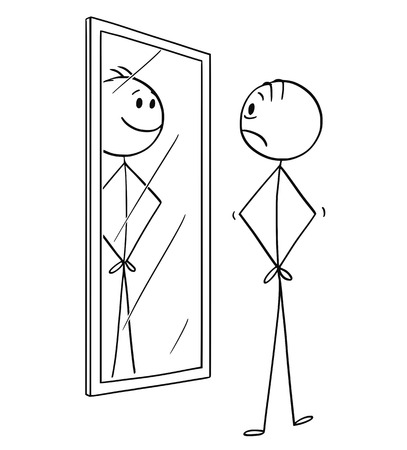 Cartoon stick drawing conceptual illustration of man sad depressed man looking at himself in the mirror but seeing smiling and cheerful yourself.