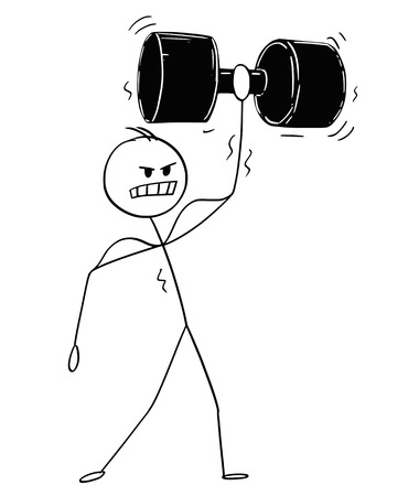 Cartoon stick drawing conceptual illustration of muscular bodybuilder man lifting big and heavy dumbbell during workout.